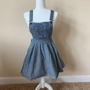 Topshop engineer denim overall skirt dress #49